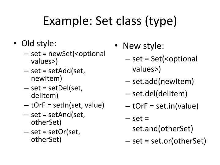 Example: Set class (type)