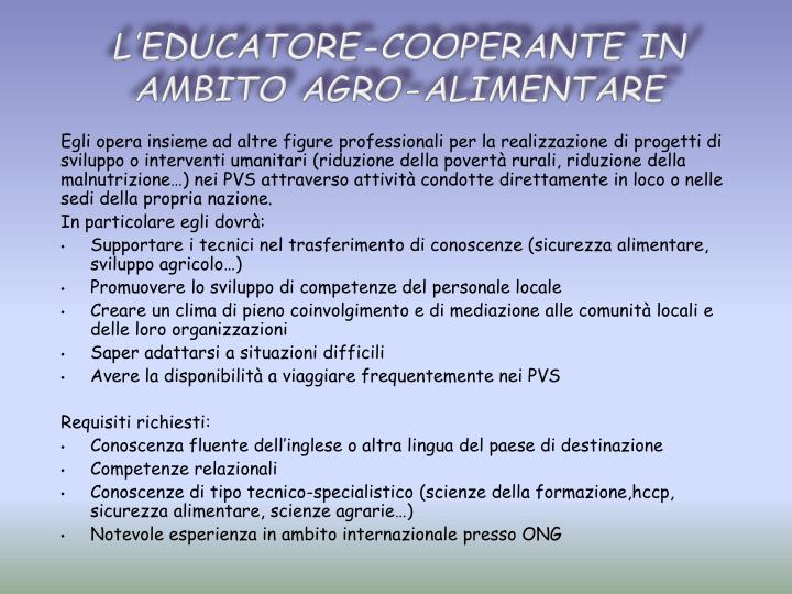 L'educatore-cooperante in ambito agro-alimentare