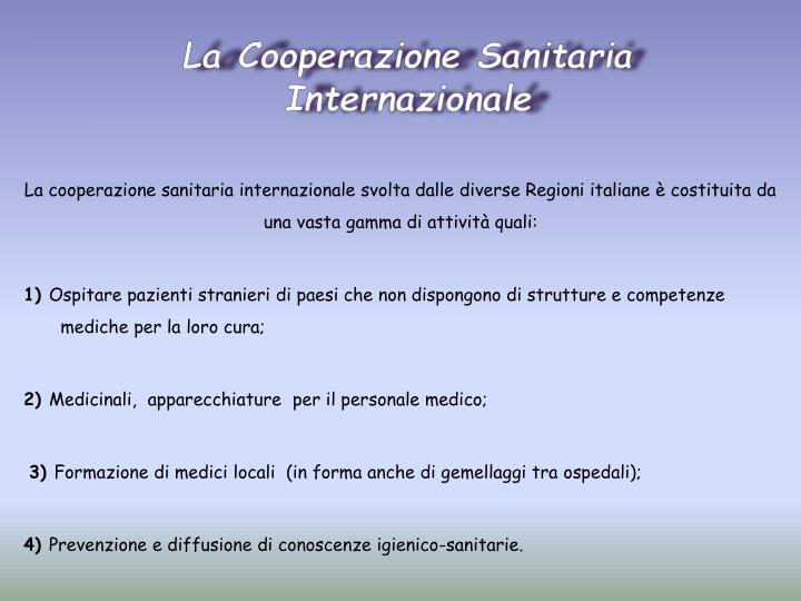 La Cooperazione Sanitaria Internazionale