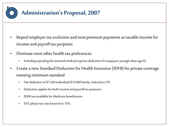 Administration's Proposal, 2007