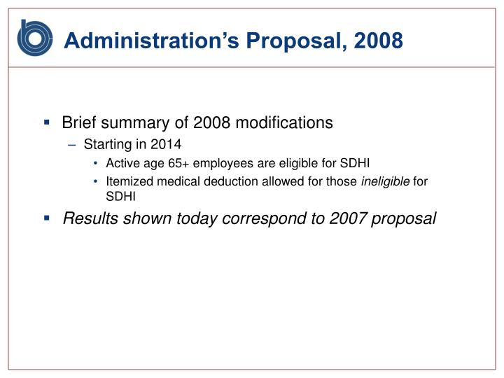 Administration's Proposal, 2008