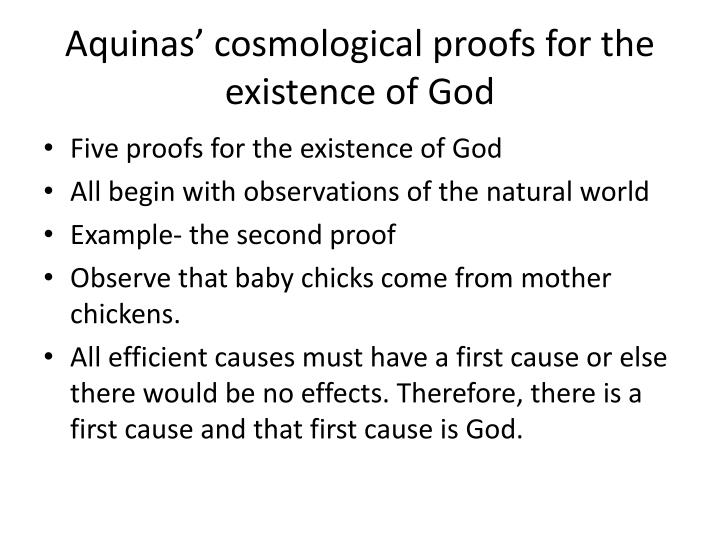 Aquinas' cosmological proofs for the existence of God