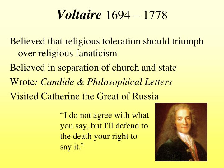 the views of voltaire and diderot on religious intolerance Start studying the philosophers and their ideas, voltaire, diderot, toleration and religious monorities learn vocabulary, terms, and more with flashcards, games, and other study tools.