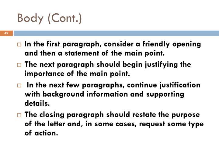 Body (Cont.)