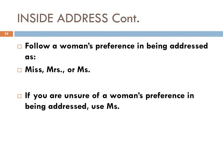 INSIDE ADDRESS Cont