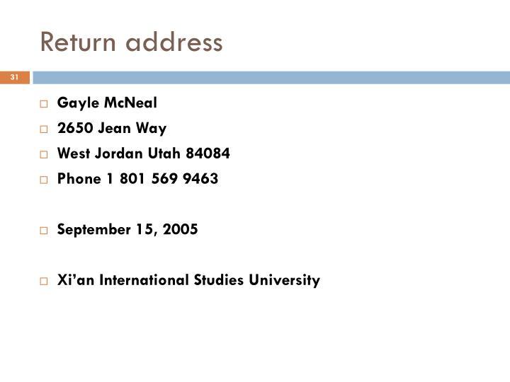 Return address