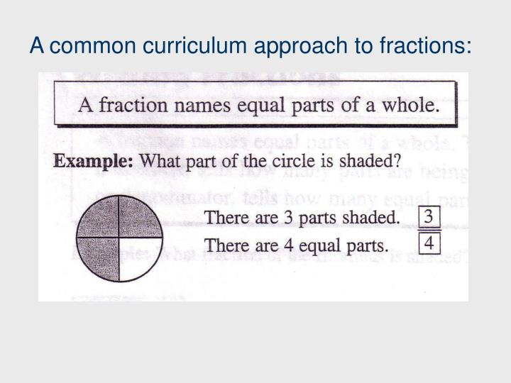 A common curriculum approach to fractions: