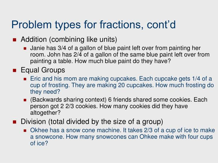 Problem types for fractions, cont'd