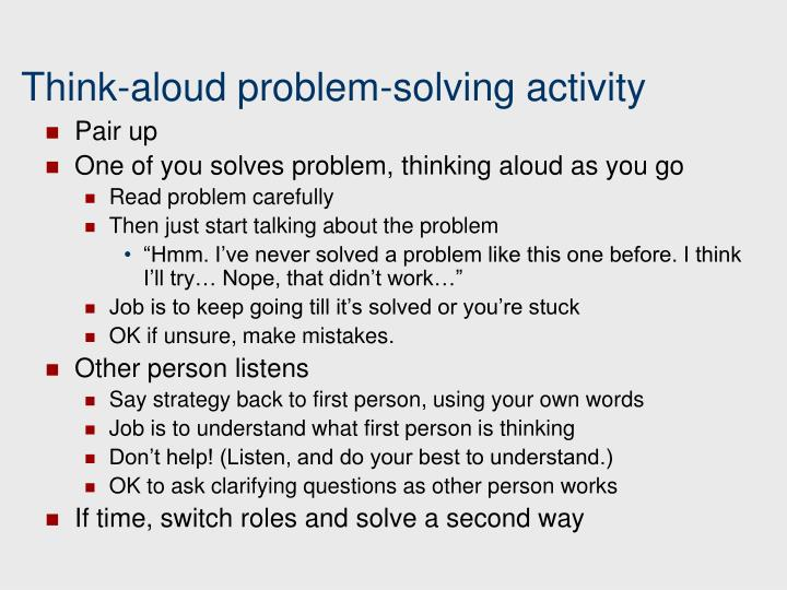Think-aloud problem-solving activity