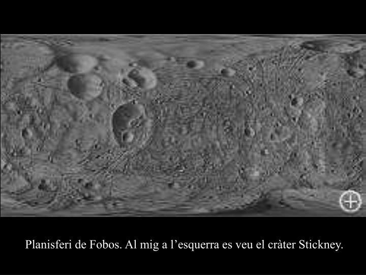 Planisferi de Fobos. Al mig a l'esquerra es veu el cràter Stickney.