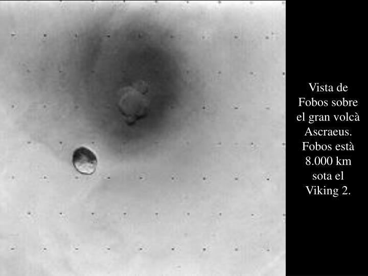 Vista de Fobos sobre el gran volcà Ascraeus. Fobos està 8.000 km sota el Viking 2.