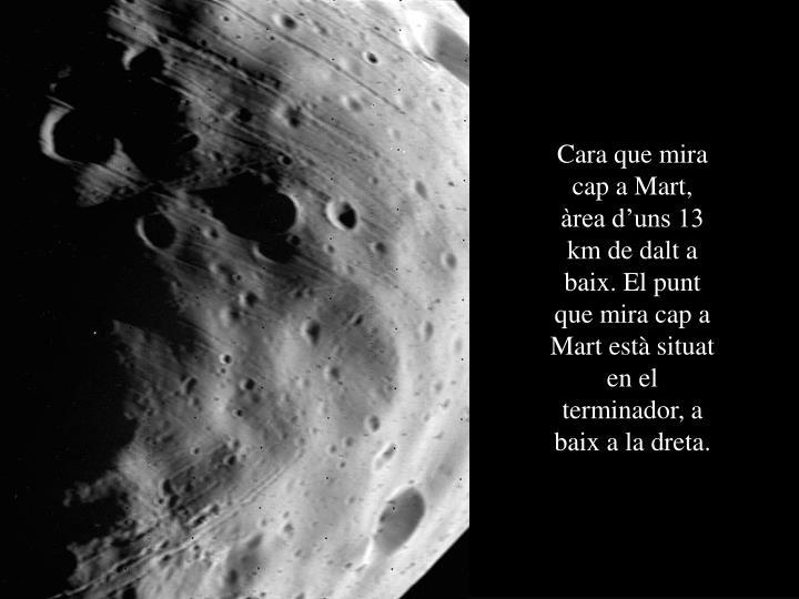 Cara que mira cap a Mart, àrea d'uns 13 km de dalt a baix. El punt que mira cap a Mart està situat en el terminador, a baix a la dreta.