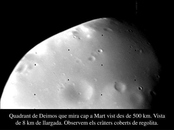Quadrant de Deimos que mira cap a Mart vist des de 500 km. Vista de 8 km de llargada. Observem els cràters coberts de regolita.