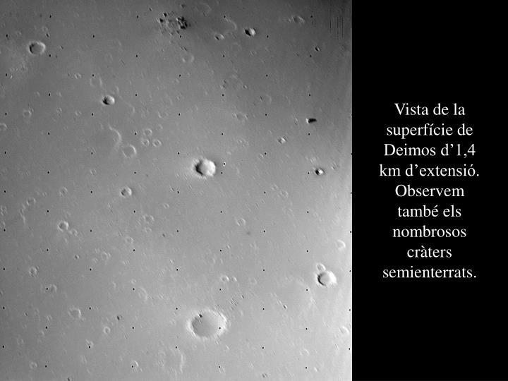 Vista de la superfície de Deimos d'1,4 km d'extensió. Observem també els nombrosos cràters semienterrats.