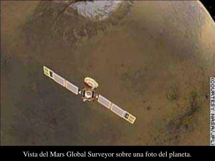 Vista del Mars Global Surveyor sobre una foto del planeta.