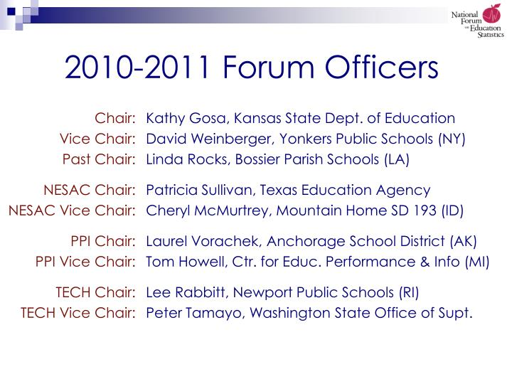 2010 2011 forum officers