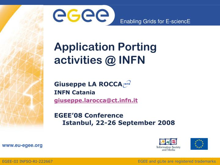 Application porting activities @ infn