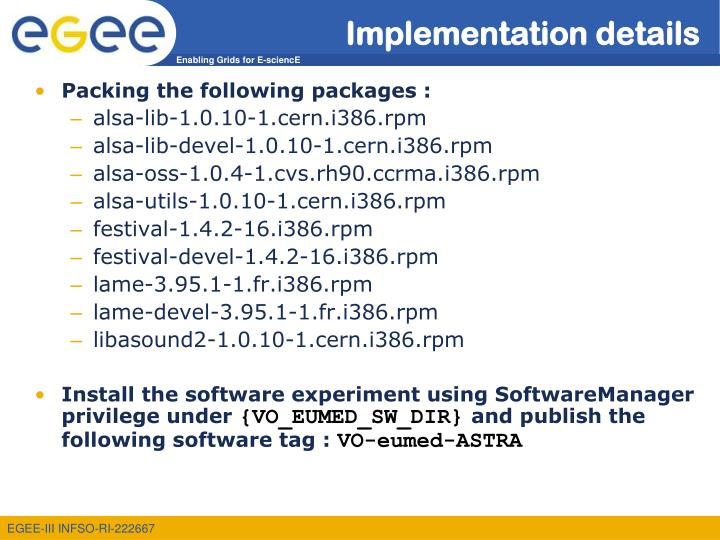 Implementation details