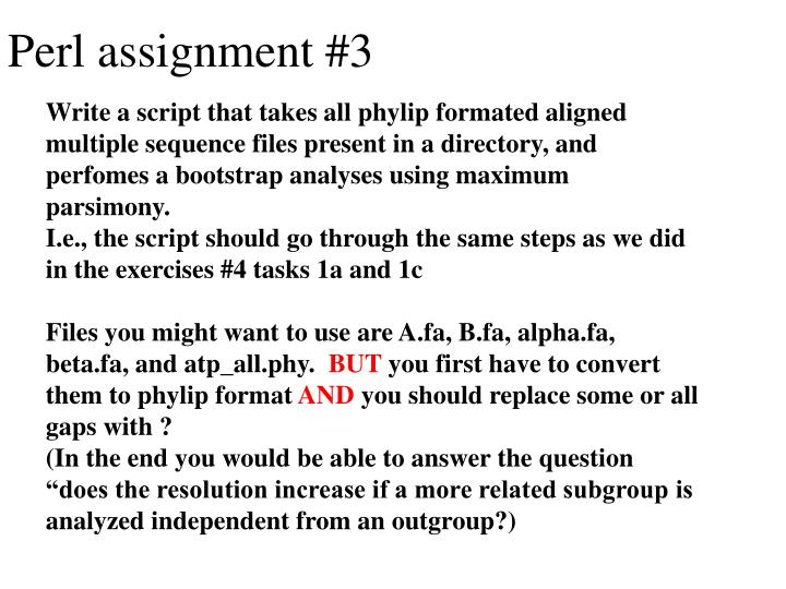 Perl assignment #3