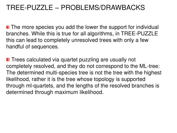 TREE-PUZZLE – PROBLEMS/DRAWBACKS