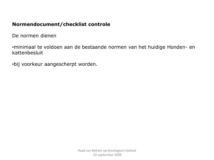 Normendocument/checklist controle