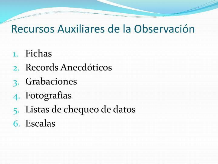 Recursos Auxiliares de la Observación