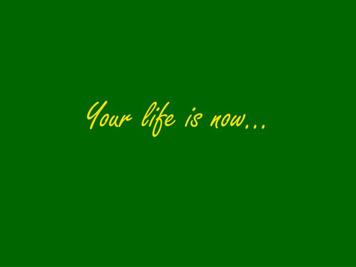 Your life is now…