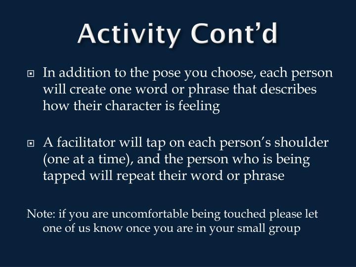 Activity Cont'd