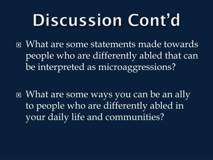Discussion Cont'd