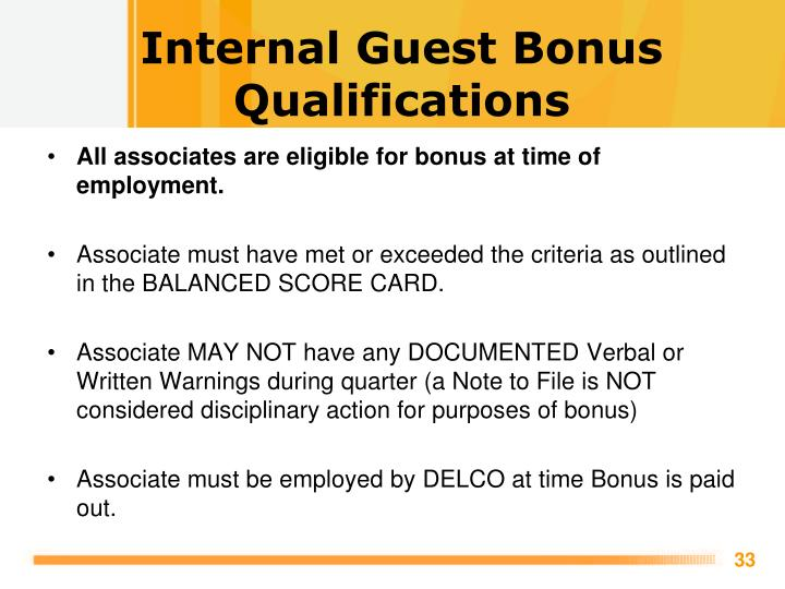 Internal Guest Bonus Qualifications