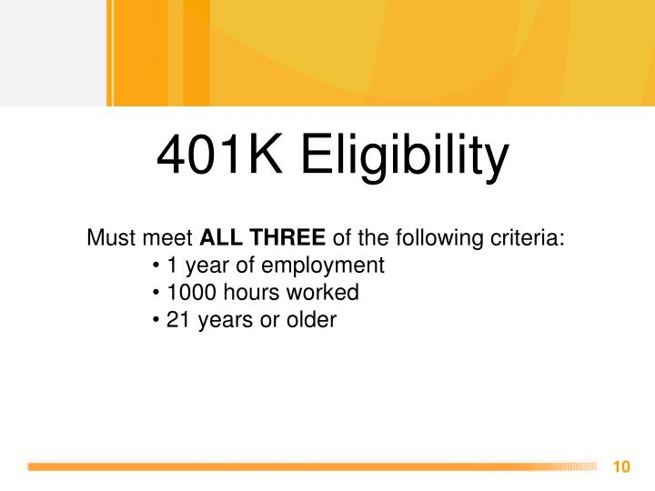 401K Eligibility