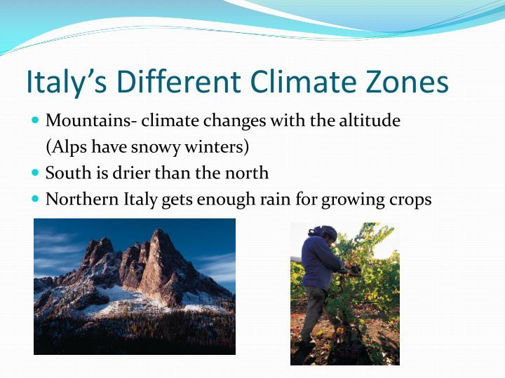 Italy's Different Climate Zones