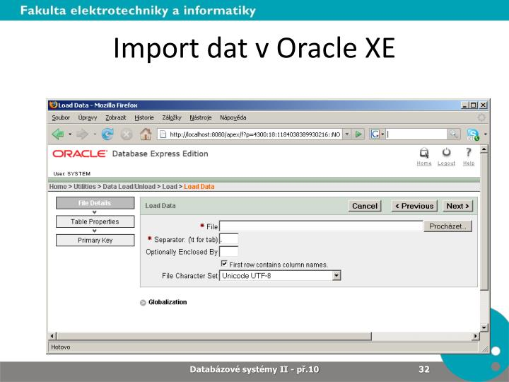 Import dat v Oracle XE