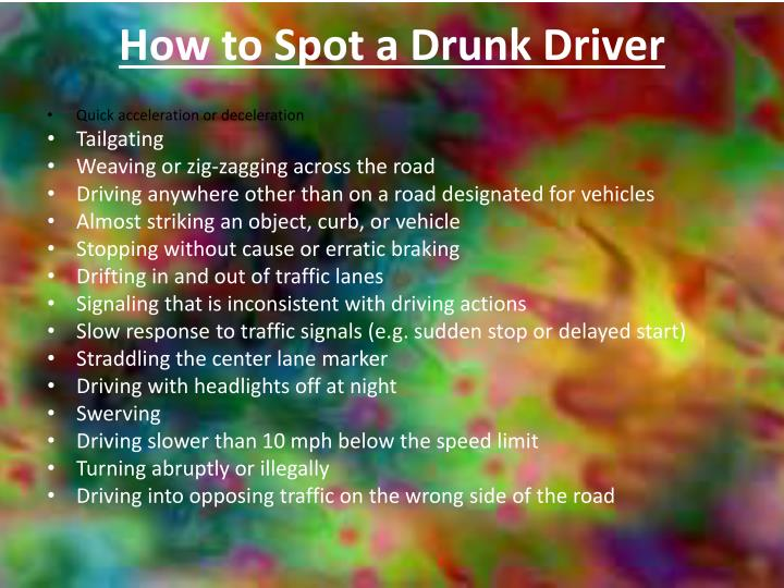 How to Spot a Drunk Driver