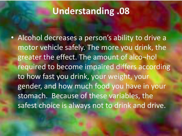 Understanding .08