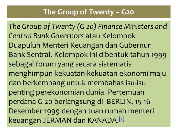 The group of twenty g20