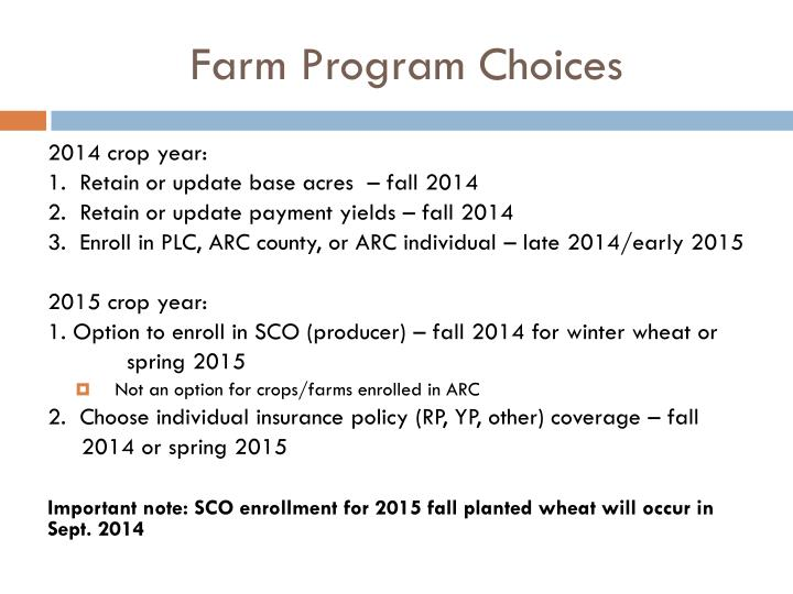 Farm Program Choices