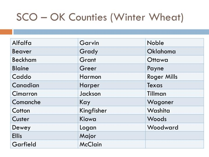 SCO – OK Counties (Winter Wheat)