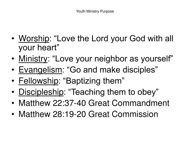 Youth ministry purpose