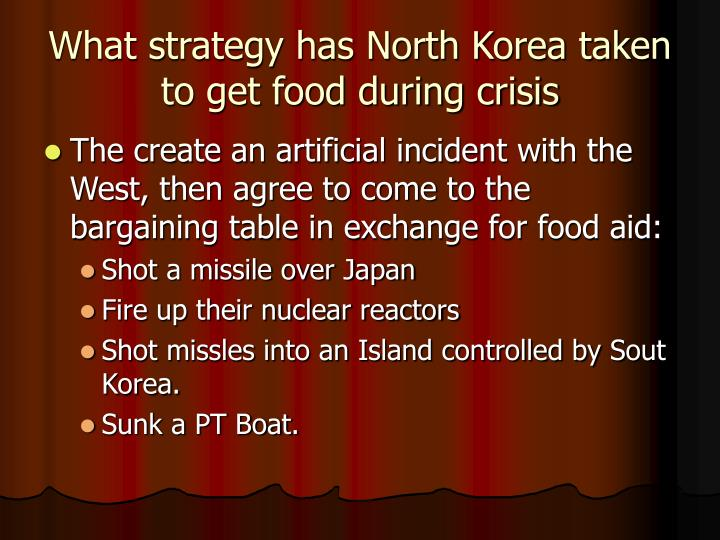 What strategy has North Korea taken to get food during crisis