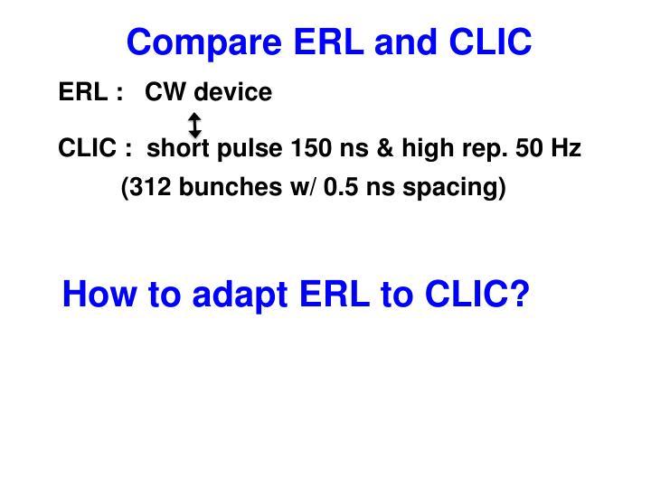 Compare ERL and CLIC