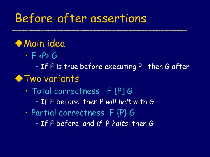 Before-after assertions