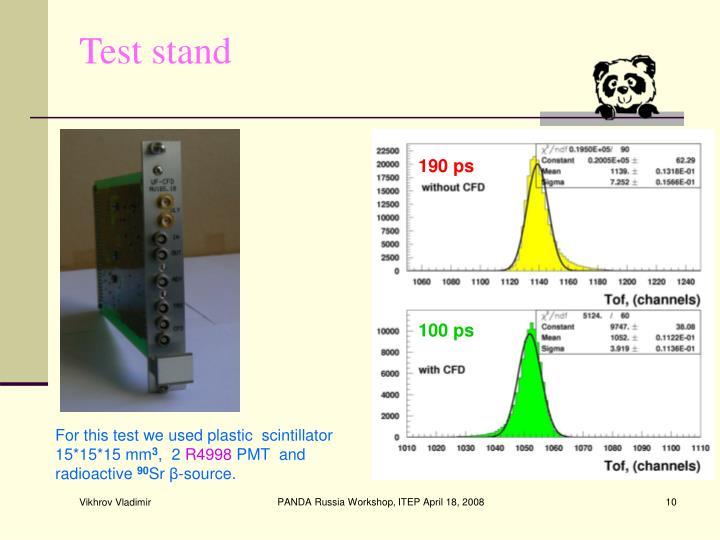 For this test we used plastic  scintillator