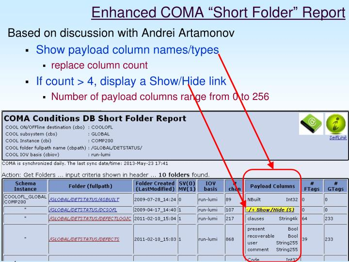Enhanced coma short folder report