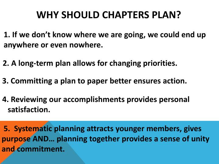 WHY Should Chapters PLAN?