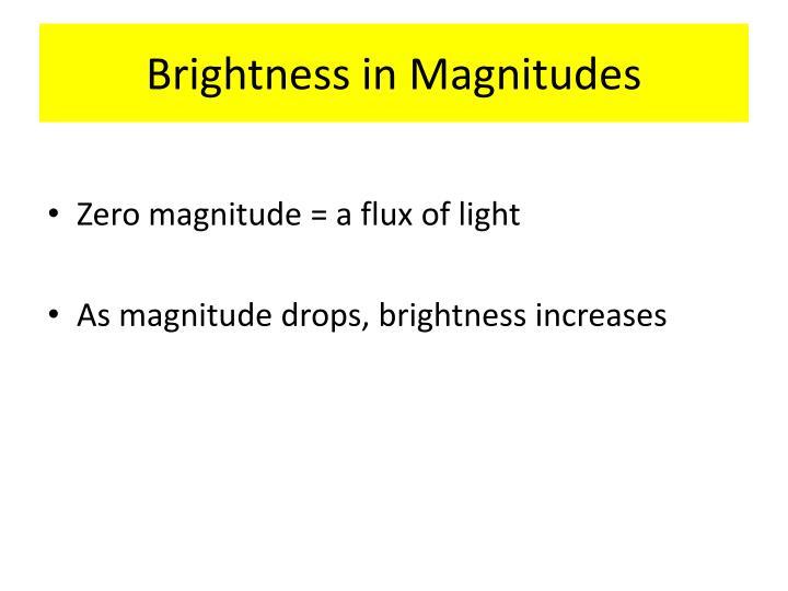 Brightness in Magnitudes