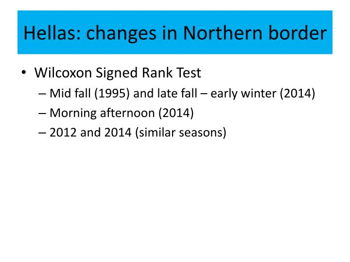 Hellas: changes in Northern border