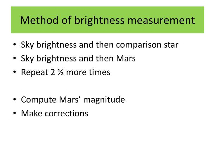 Method of brightness measurement