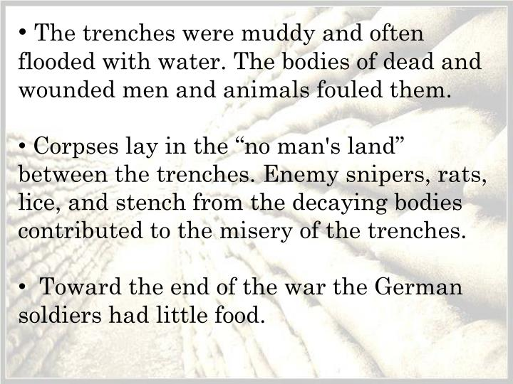 The trenches were muddy and often flooded with water. The bodies of dead and wounded men and animals fouled them.