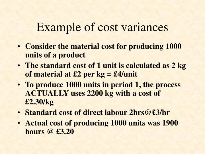 Example of cost variances